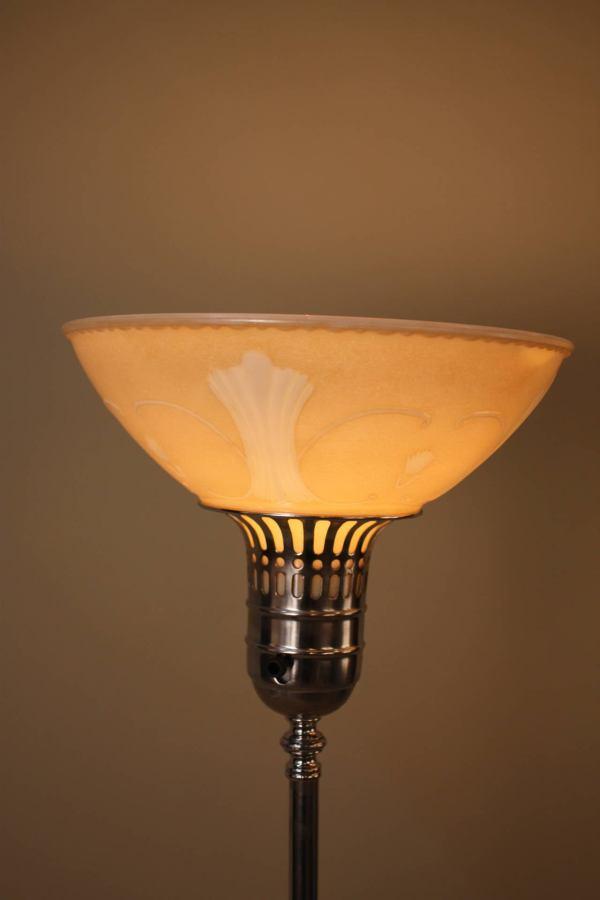 Pair Of Art Deco Torchiere Floor Lamps 1stdibs