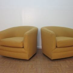 Barrel Swivel Chairs Upholstered King And Queen For Rent Pair Of Back At 1stdibs