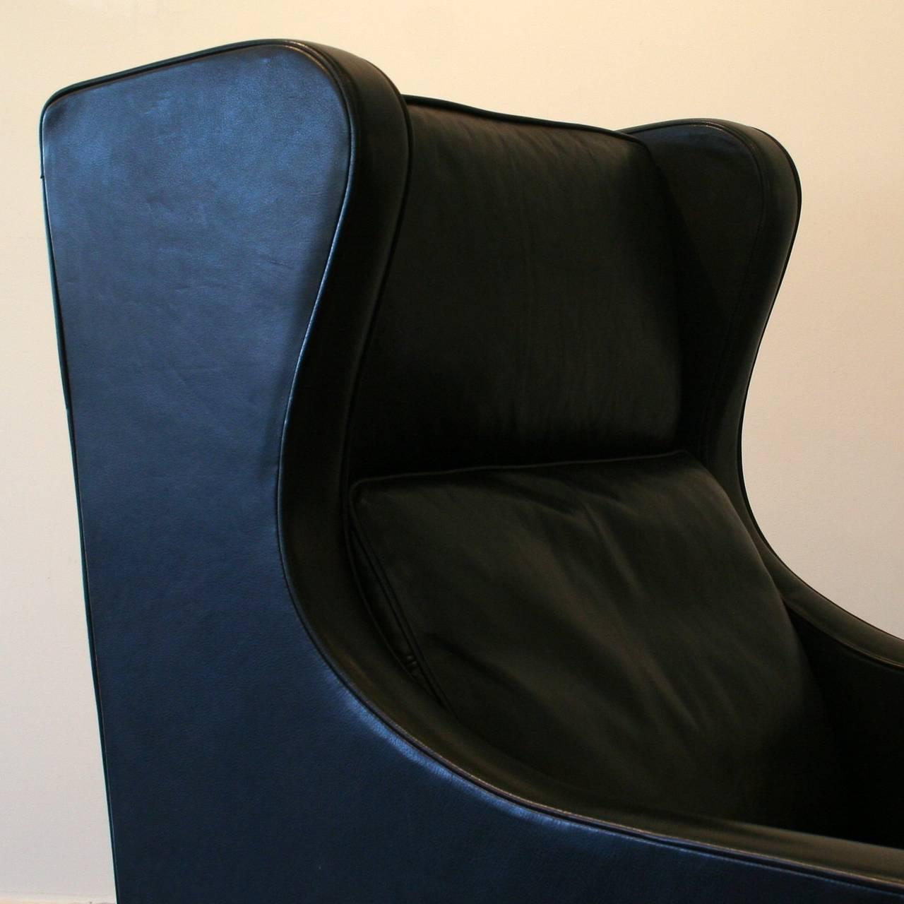 black leather wingback chair mechanics hydraulic stool vintage danish at 1stdibs