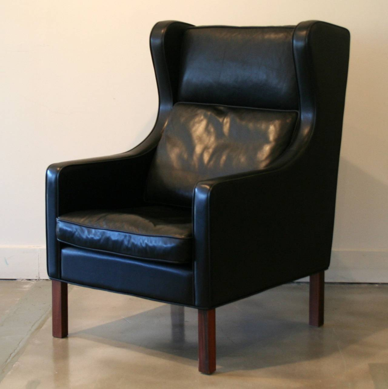 leather wingback chairs canada recliner johannesburg vintage danish black chair at 1stdibs