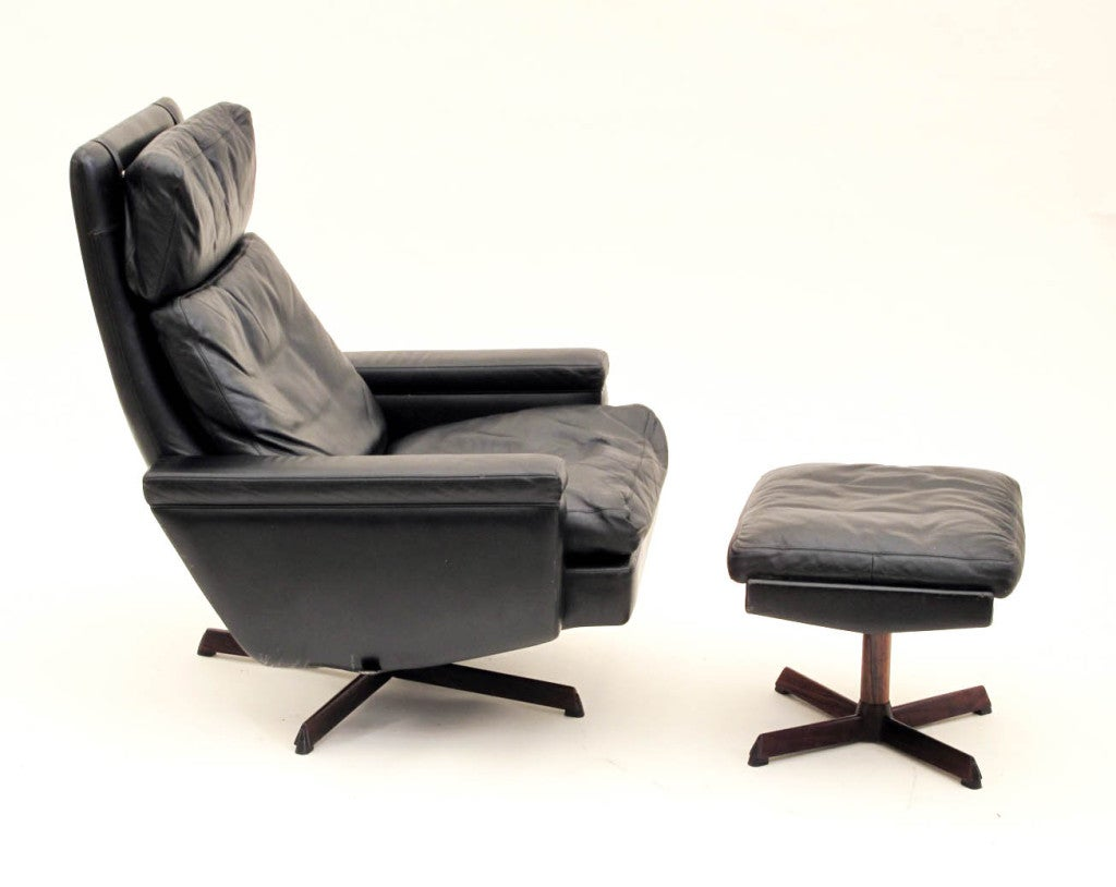 swivel club chair recliner high chairs for twins danish reclining lounge with ottoman at 1stdibs