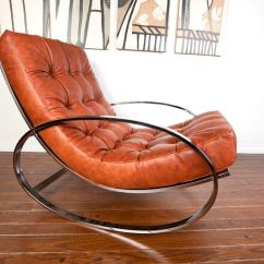 Rocking Chair Leather And Wood Cushions Target Chrome By Milo Baughman At 1stdibs