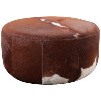 Three Foot Wide Vintage Inspired Cowhide Ottoman or Coffee ...