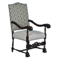 Danish Baroque Carved Arm Chair w/New Contemporary ...