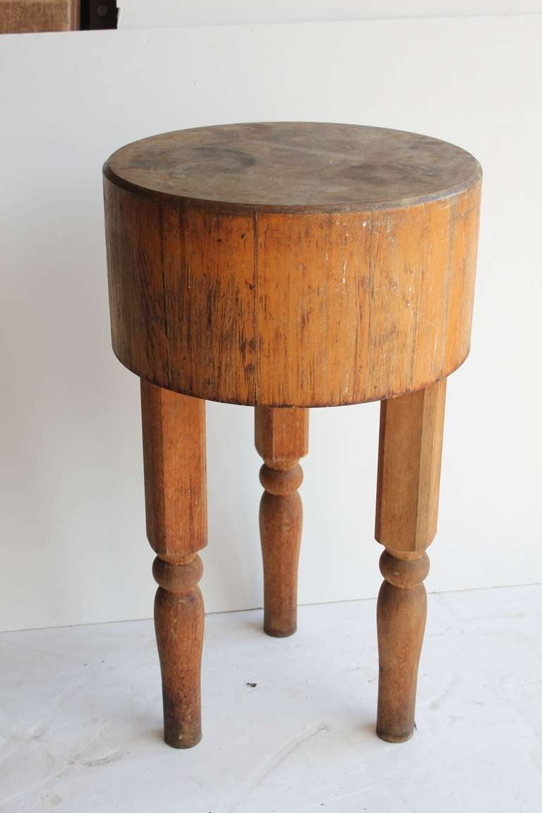 Antique Wooden Butcher Block Table Image 2