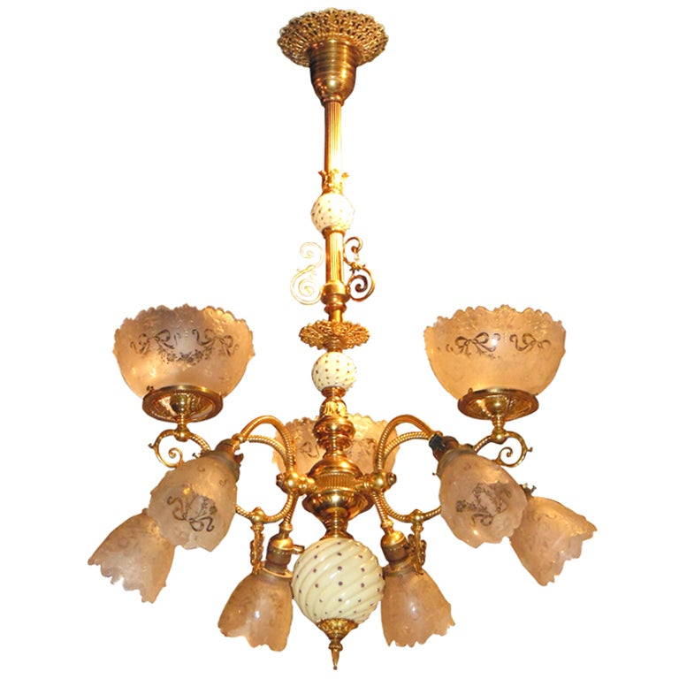 19thC Gas/Electric Chandelier at 1stdibs