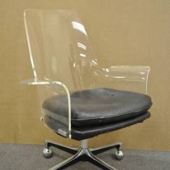 Clear Acrylic Swivel Office Chair X Desk 1960s Sculpted Lucite After Vladimir