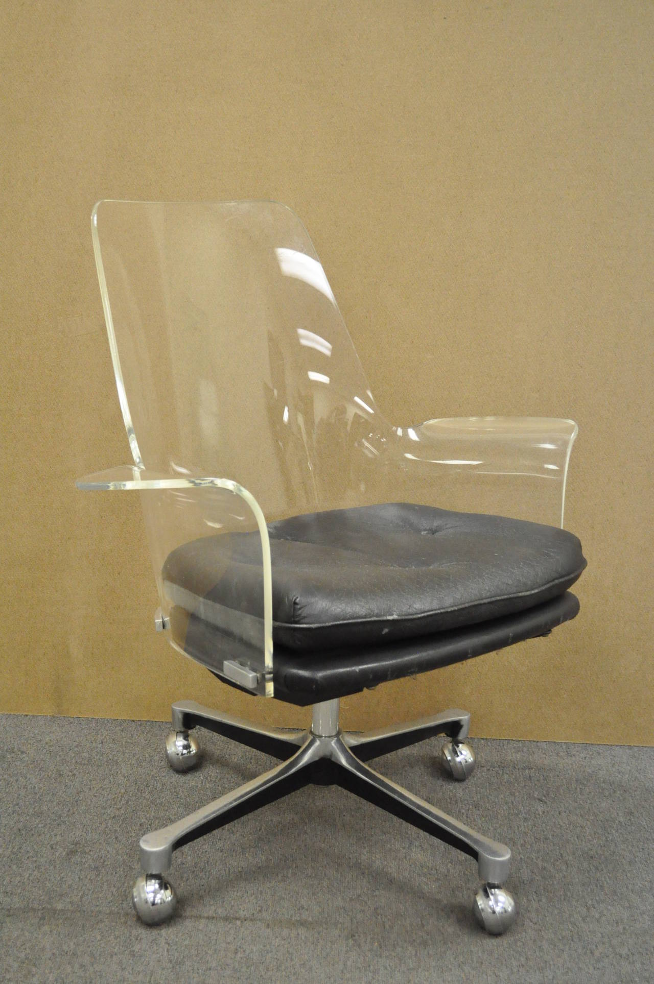 clear acrylic swivel office chair long couch sofa 1960s sculpted lucite desk after vladimir