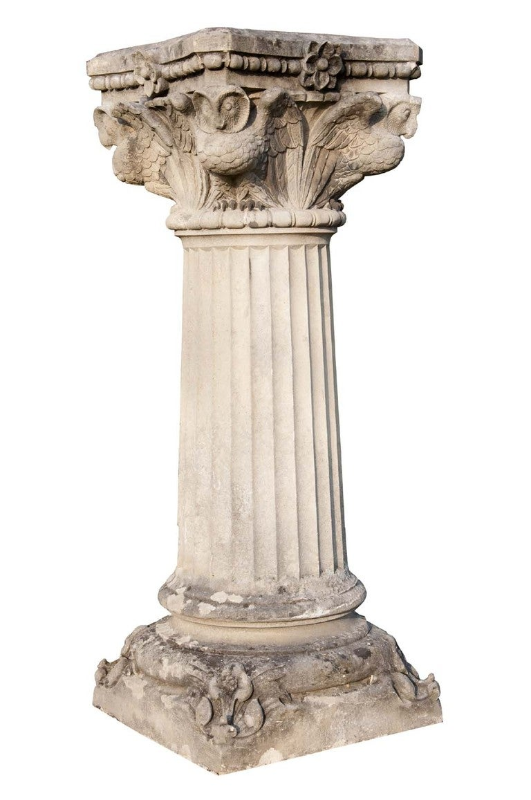 NeoGothic style carved stone pedestal at 1stdibs
