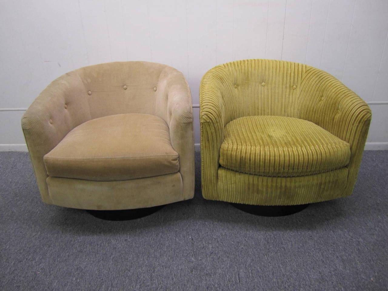 swivel tub chairs chair covers christmas wonderful pair milo baughman style barrel back