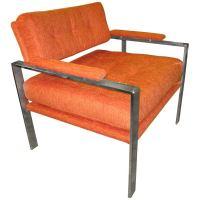 Unusual Milo Baughman Orange Chrome Lounge Chair Mid ...