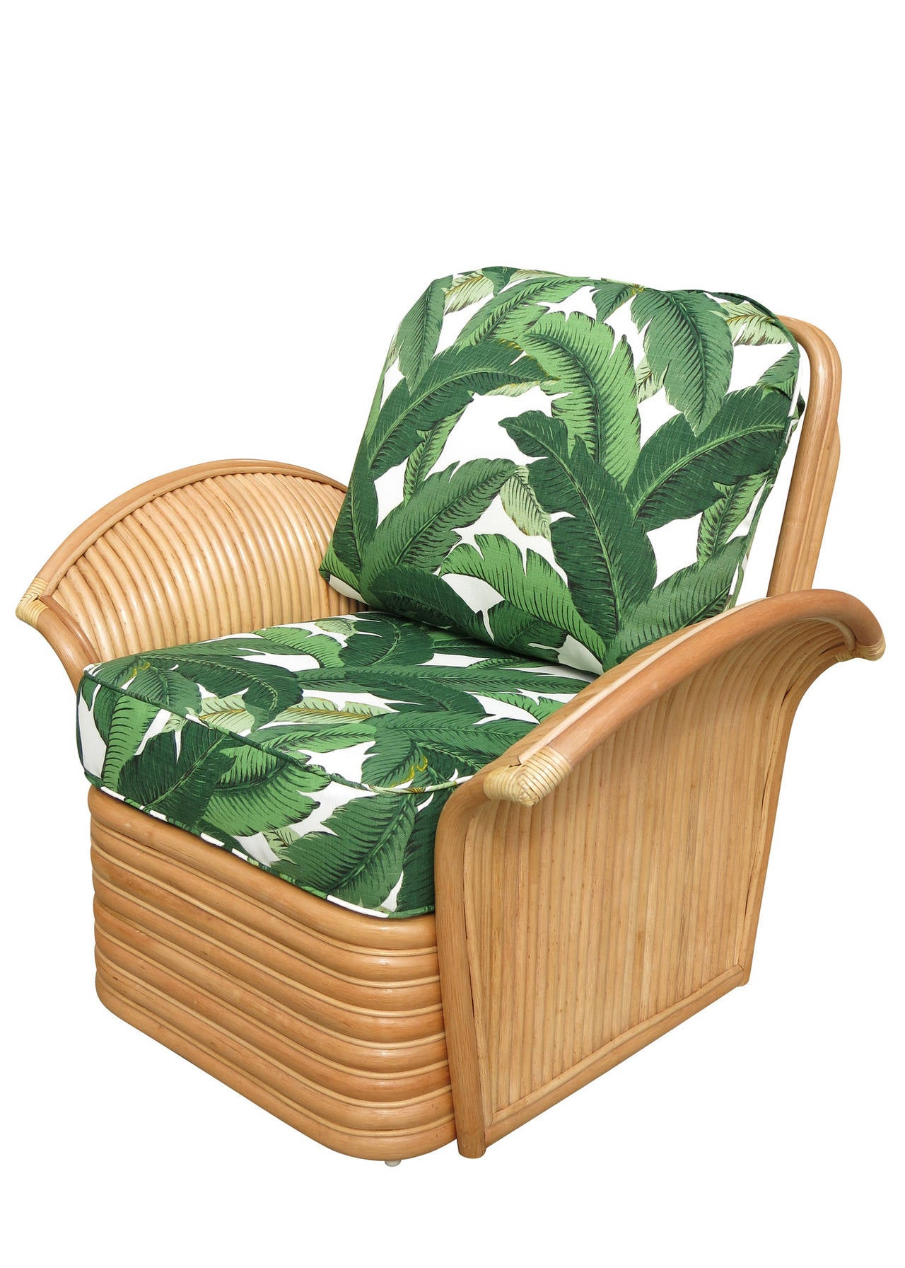 wicker chairs with ottoman underneath back dining art deco style rattan fan arm lounge chair at