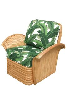 Art Deco Style Rattan Fan Arm Lounge Chair With Ottoman
