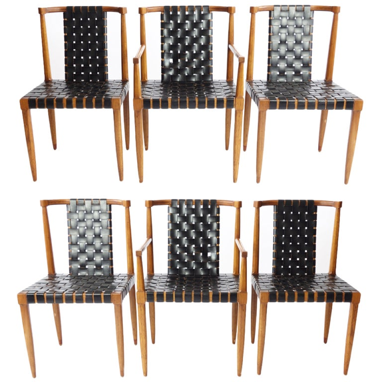 Set Of 6 Leather Strap Dining Chairs By Tomlinson At 1stdibs