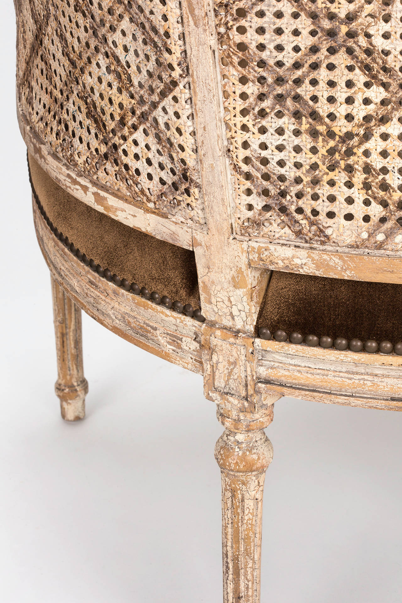 cane barrel chair used power french back at 1stdibs
