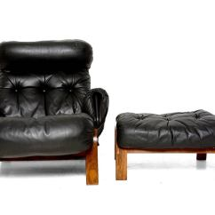 Black Leather Club Chair And Ottoman For Babies To Learn Sit Up Scandinavian Lounge In Rosewood