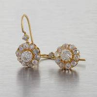 Antique Old Mine-Cut Diamond Gold Cluster Earrings at 1stdibs