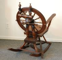 19THC EARLY AND FOLKY SPINNING WHEEL CHAIR W/ MOTHER ON ...