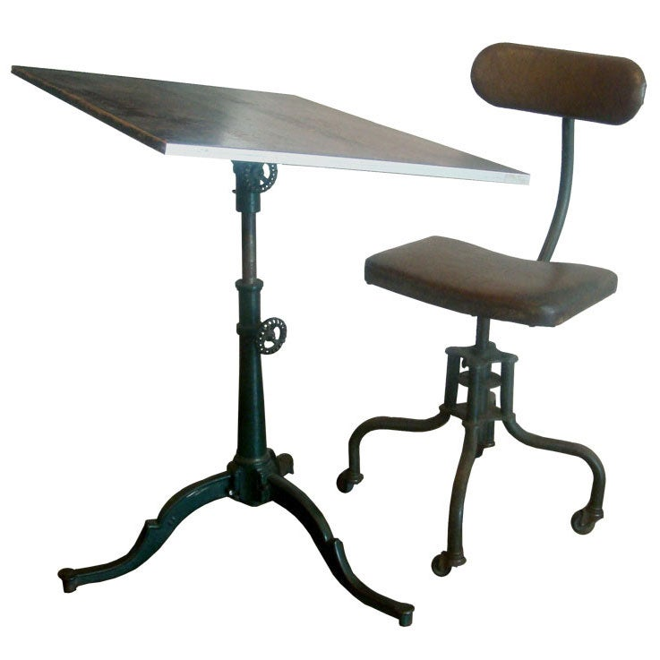 Industrial Drafting Table and Chair
