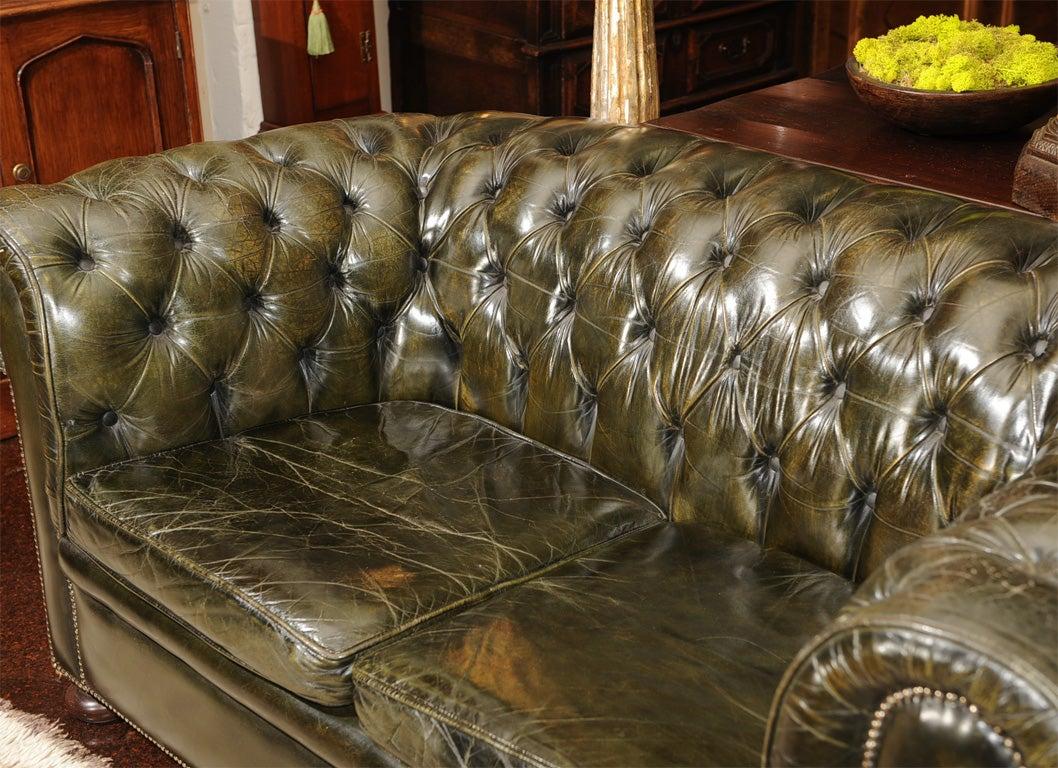 dark green leather sofa langham furniture village chesterfield at 1stdibs