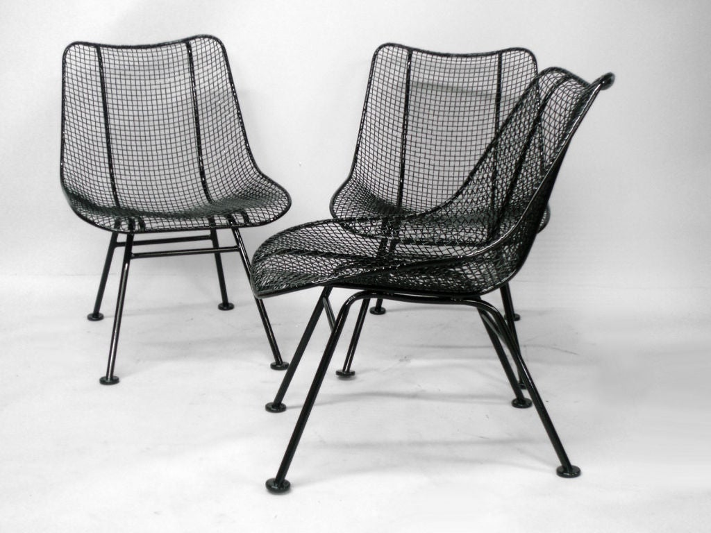 wrought iron dining chairs swing chair stand white 6 and mesh by russell lee