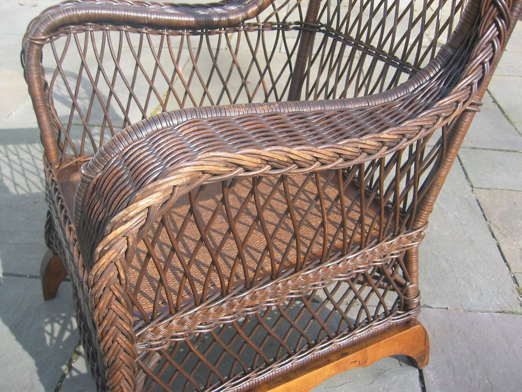 rattan wingback chairs dining chair dimensions bar harbor wicker wing at 1stdibs