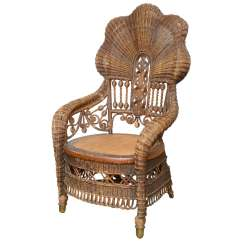 Heywood Wakefield Wicker Chairs Lumbar Support Pillow For Chair Rare Armchairs At 1stdibs