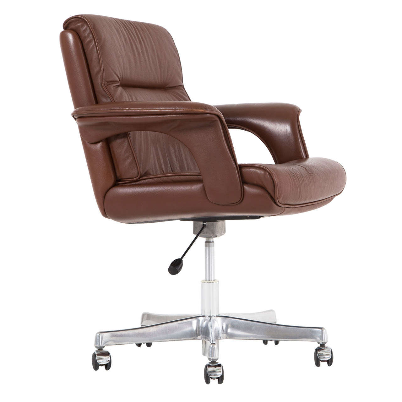 Brown Leather Office Chairs Executive Conference Desk Office Chair In Brown