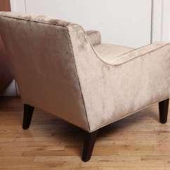 Brown Slipper Chair Turquoise Blue Sashes Upholstered In Light Cut Velvet At 1stdibs