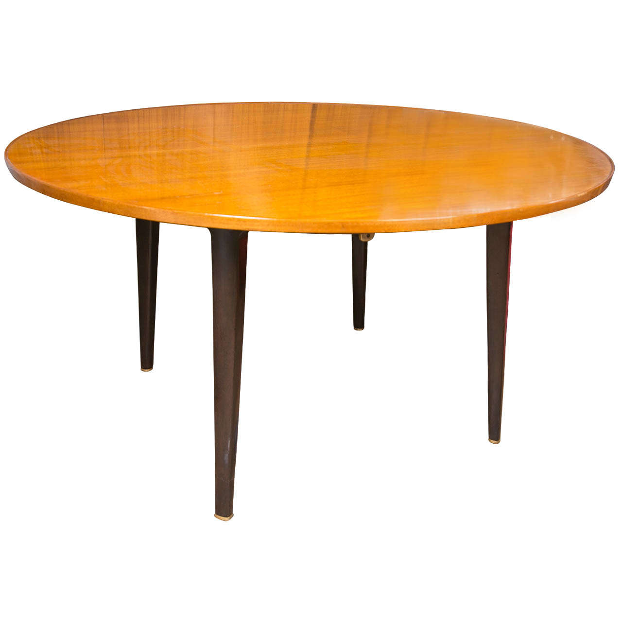 wood chair leg extenders curved dining chairs edward wormley round extension table by dunbar at