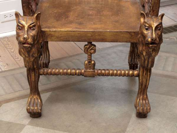 Pair Of Egyptian Revival Giltwood Throne Chairs 1stdibs