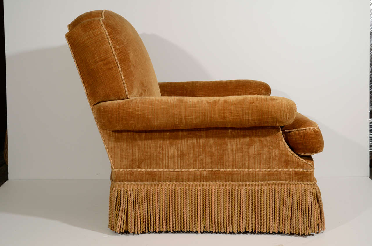 french velvet chair special tomato upholstered with ottoman at 1stdibs