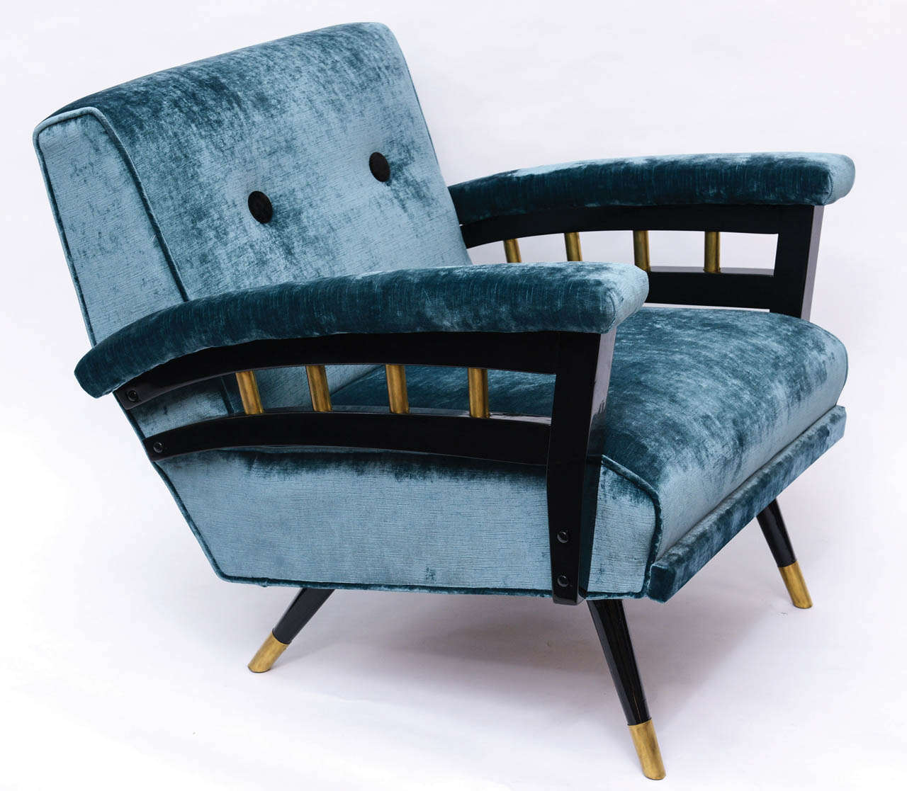 deer antler rocking chair square banquet covers stunning mid century blue velvet and black lacquer