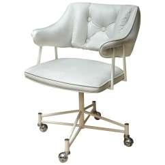 Desk Chair Utm Koken Barber Age Mid Century White Leather On Castors At 1stdibs