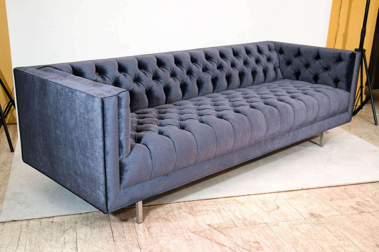 tufted sofa velvet simmons soho onyx leather modern at 1stdibs
