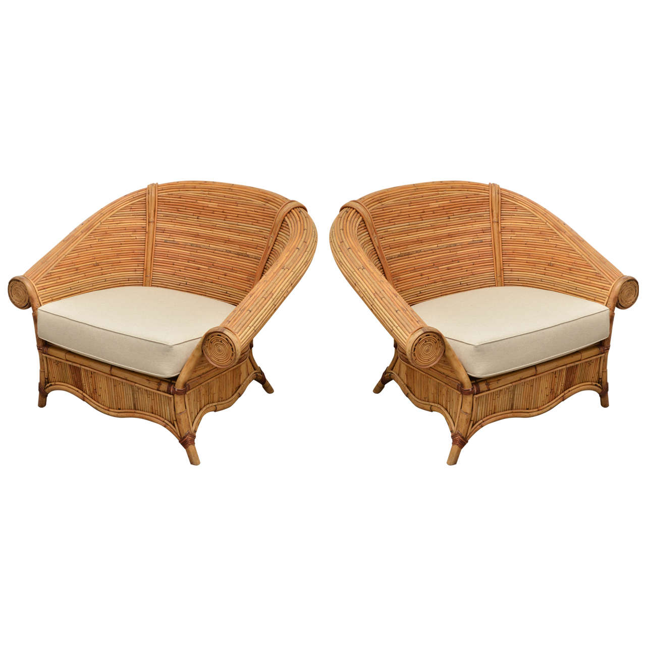 large wicker chair cane dining table chairs pair of rattan with upholstered linen
