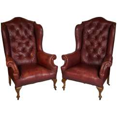 Red Leather Wingback Chair Wedding Covers For Armchairs Pair Of Early 20th Century Wing Back Chairs At