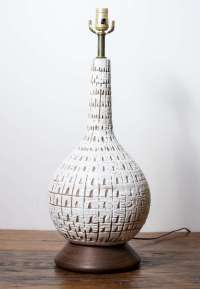 Vintage Textured Ceramic Lamp with Danish Modern Wood Base ...