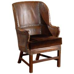 Barrel Back Chair Bar Table And Chairs Set Handsome Leather At 1stdibs