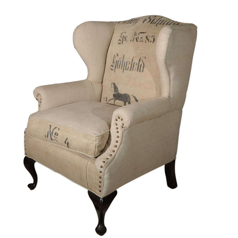 swivel club chair with ottoman antique white metal bistro garden table and chairs linen wing w/grain sack/horse at 1stdibs