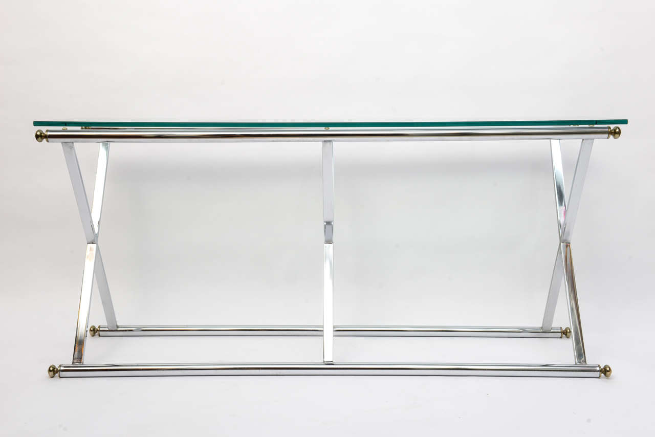 vogue chrome sofa table faux leather click clack bed x style and brass console at 1stdibs