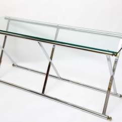 Vogue Chrome Sofa Table Futon Sofas With Storage X Style And Brass Console At 1stdibs