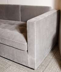 Luxe Modernist Sectional Sofa with Biscuit Tufting in Grey ...