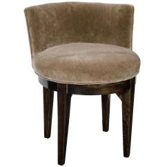 Swivel Vanity Chair Cheap Glass Table And Chairs Art Deco Stool In Ebonized Walnut Smoked