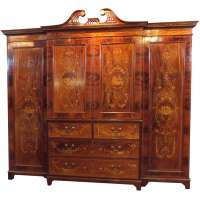 Antique English Mahogany Inlaid Cabinet/Linen Press at 1stdibs