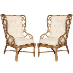 Rattan Wingback Chairs Bedroom Easy Chair Pair Of C 1960 At 1stdibs