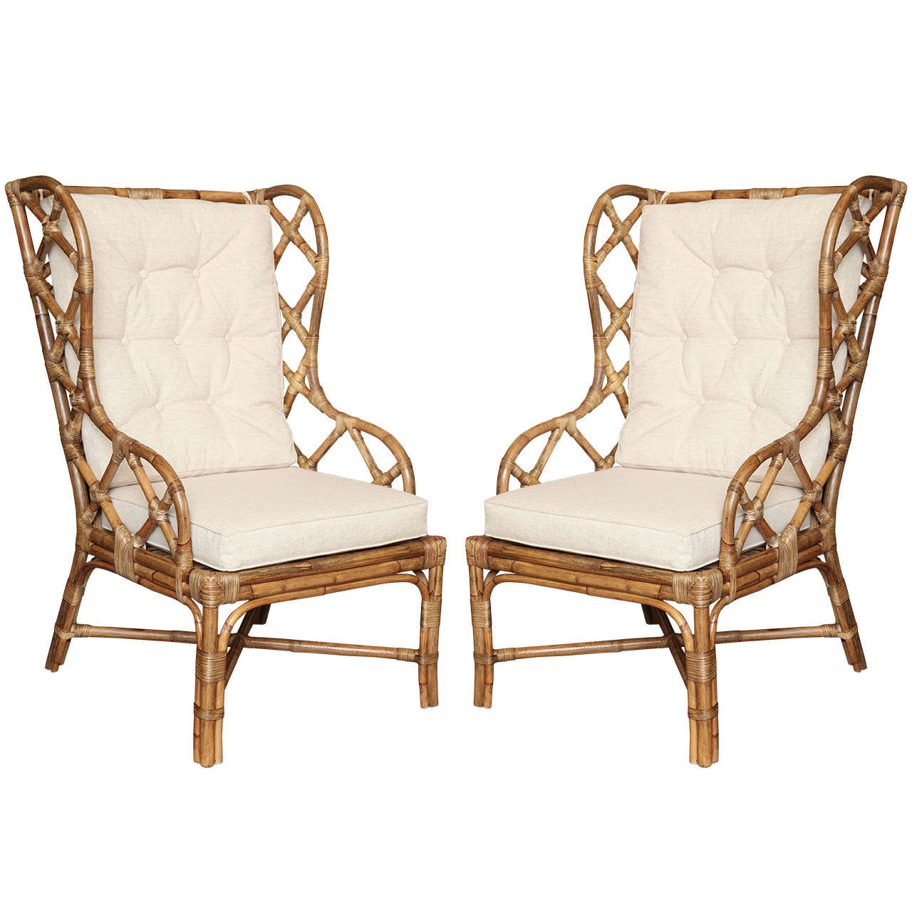 wicker wingback chairs how to paint wooden pair of rattan c 1960 at 1stdibs