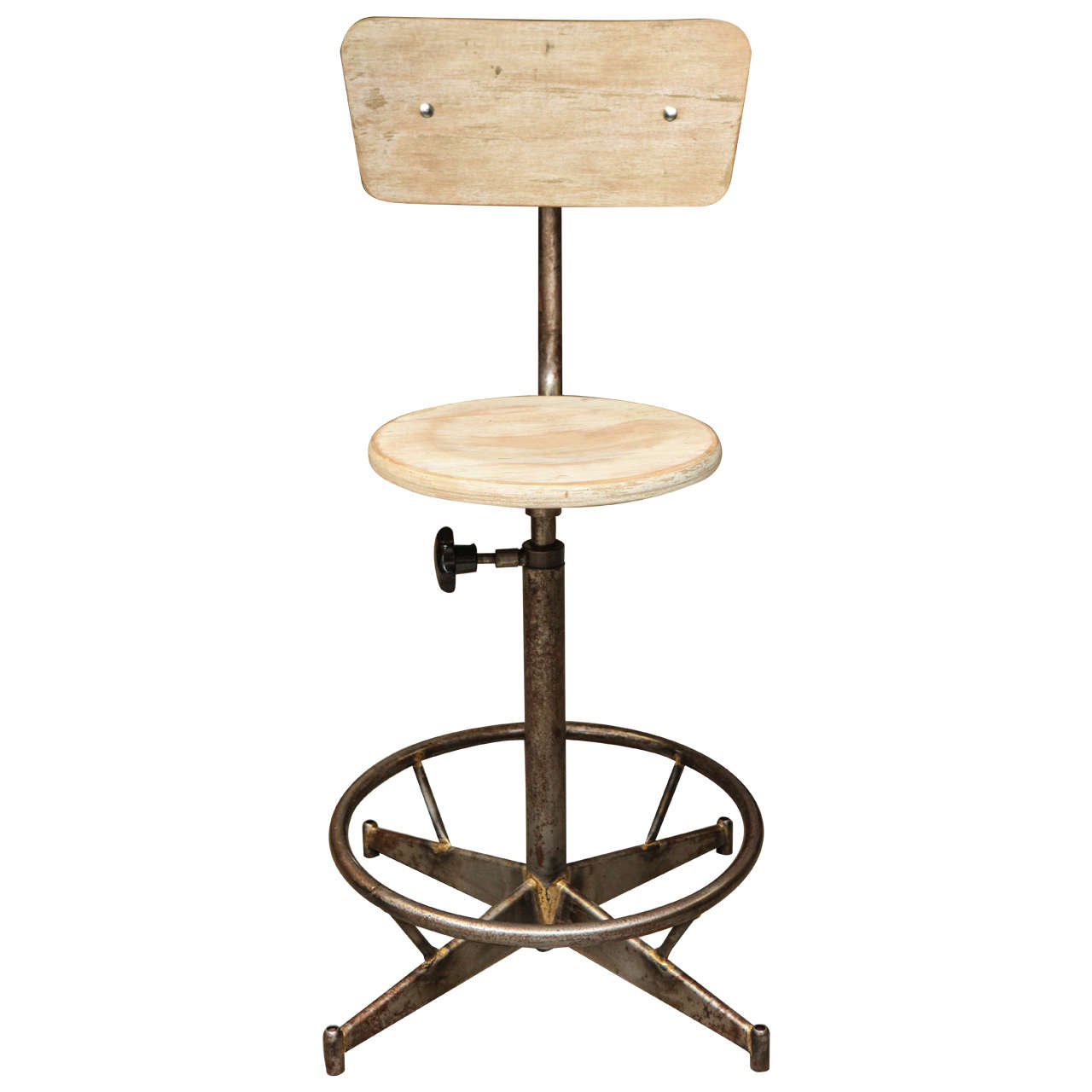 Adjustable High Chair Light Wood And Metal Adjustable Swivel High Chair At 1stdibs