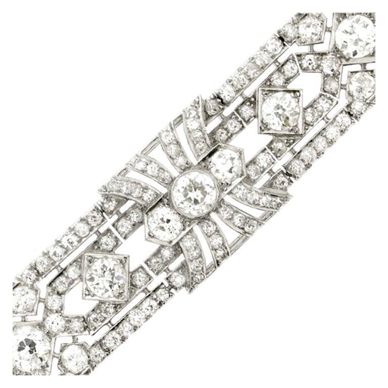 1920s Exceptional Diamond Platinum Bracelet at 1stdibs