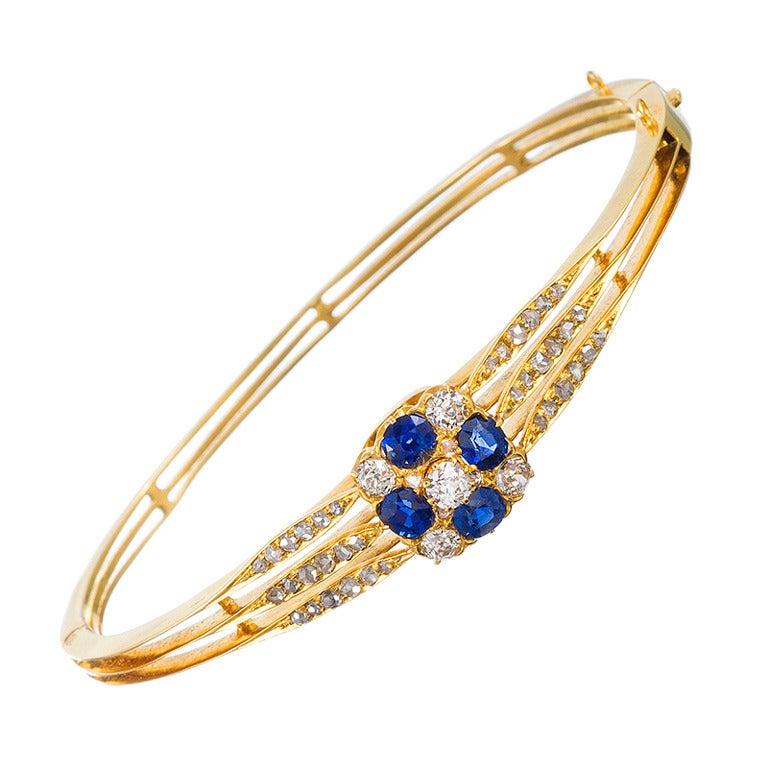 Victorian Sapphire & Diamond Bangle Bracelet